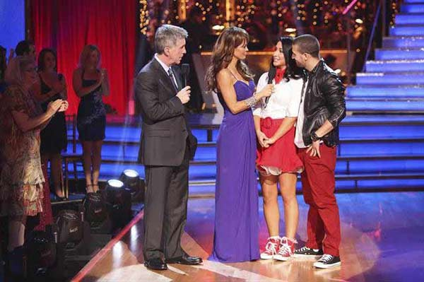 Reality star Bristol Palin and her partner Mark Ballas react to being eliminated on 'Dancing With The Stars: The Results Show' on October 16, 2012.