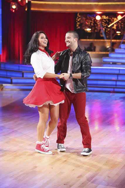 Reality star Bristol Palin and her partner Mark Ballas await their fate on 'Dancing With The Stars: The Results Show' on October 16, 2012.