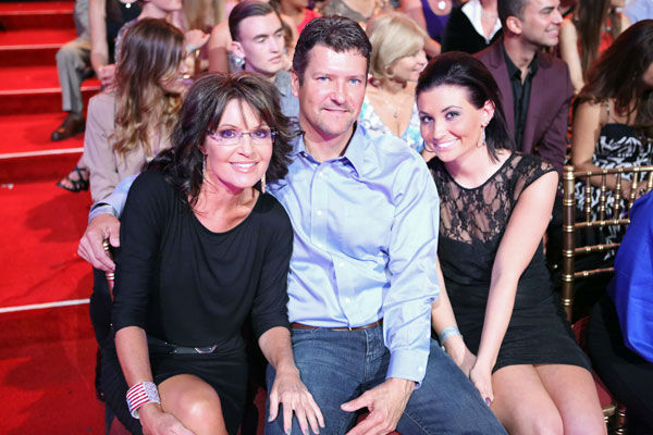 Reality star Bristol Palin's parents, Sarah Palin and Todd Palin, and sister Willow Palin cheer her on during week two of 'Dancing With The Stars: All-Stars,' which aired on Oct. 1, 2012.