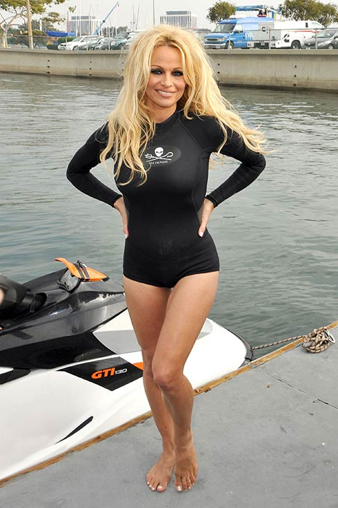 Pamela Anderson appears in a swimsuit at the launch of the &#39;Operation Zero Tolerance&#39; Antarctic Whale Defense Campaign in Marina del Rey, California on Nov. 2, 2012. <span class=meta>(Tony DiMaio &#47; startraksphoto.com)</span>