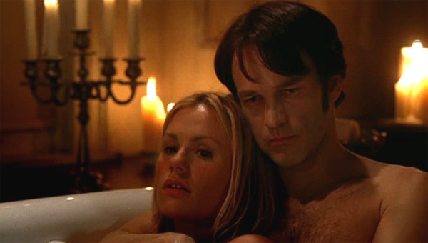 Anna Paquin told Health magazine in May 2011 that to relax, she takes baths. &#39;I&#39;ll bring my laptop and watch a DVD,&#39; she said. &#39;Or, um, company in the bath. Also nice.&#39; &#40;Pictured: Anna Paquin and husband Stephen Moyer appear in a bath scene in the HBO series &#39;True Blood.&#39;&#41; <span class=meta>(HBO)</span>