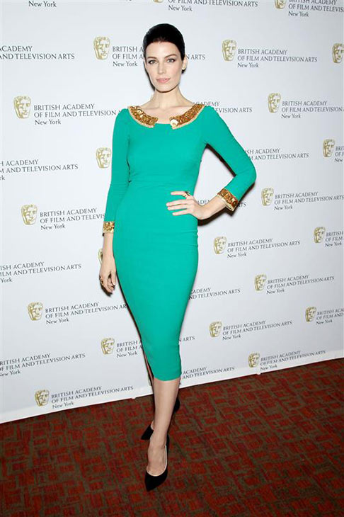 "<div class=""meta image-caption""><div class=""origin-logo origin-image ""><span></span></div><span class=""caption-text"">Jesse Pare (Megan on AMC's 'Mad Men') wears a teal and gold L'Wren Scott dress at a panel for 'Mad Men,' hosted by the British Academy of Film and Television Arts, at the Harvard Club of New York on April 22, 2013. (Marion Curtis / Startraksphoto.com)</span></div>"