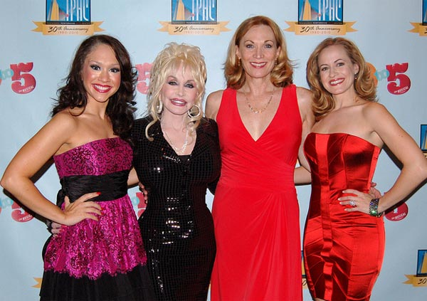 "<div class=""meta image-caption""><div class=""origin-logo origin-image ""><span></span></div><span class=""caption-text"">From left: 'American Idol' album Diana DeGarmo, Dolly Parton, Dee Hoty and Mamie Parris appear at the world premiere of the national tour of '9 to 5: The Musical' at the Tennessee Performing Arts Center in Nashville on Sept. 21, 2010.   DeGarmo played Parton's character, Miss Doralee Rhodes, while Hoty played Violet and Parris played Judy. (flickr.com/photos/casaflamingo)</span></div>"