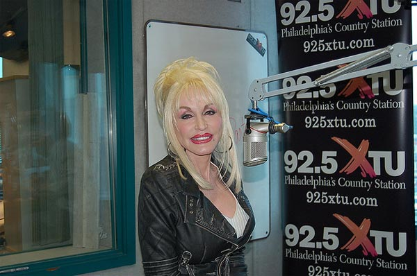 Dolly Parton appears at the studios of the radio station WXTU 92.5 FM in Philadelphia in November 2007.