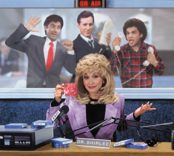 Griffin Dunne, James Woods, Charles Fleischer and Dolly Parton appear in a scene from the 1992 movie &#39;Small Talk.&#39; She plays a woman who ditches her small town life for Chicago, where she becomes a successful radio show host. <span class=meta>(Hollywood Pictures &#47; Buena Vista Pictures)</span>