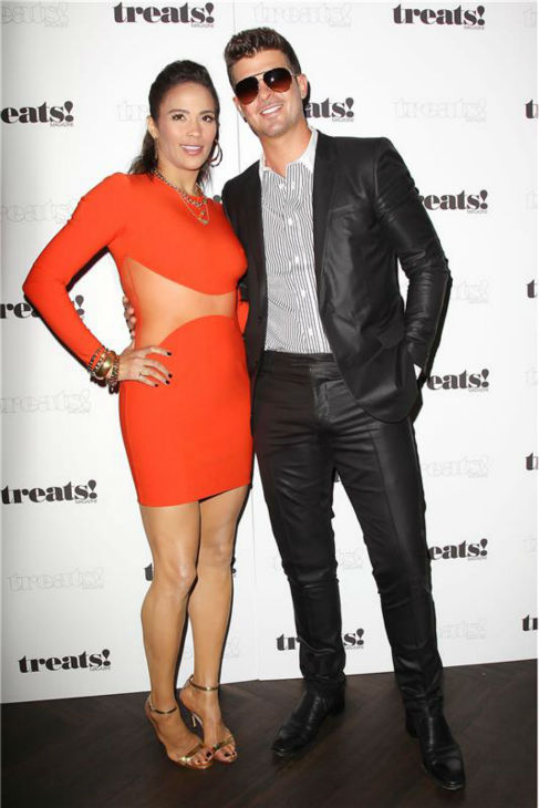 "<div class=""meta ""><span class=""caption-text "">Paula Patton and Robin Thicke appear at a release party for his album 'Blurred Lines' held at the No. 8 nightclub in New York on Sept. 4, 2013. The event was hosted by Treats! magazine, which is celebrating its September 2013 issue, and presented by Ploom. (Kristina Bumphrey / Startraksphoto.com)</span></div>"