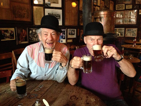 Patrick Stewart shared this Twitter photo of himself and friend and &#39;X-Men&#39; co-star Ian McKellen on Oct. 16, 2013, saying: &#39;Ale! #gogodididonyc @TwoPlaysInRep&#39; -- referring to the Broadway plays &#39;Harold Pinter&#39;s No Man&#39;s Land&#39; and Samuel Beckett&#39;s &#39;Waiting for Godot&#39; that feature the two actors. <span class=meta>(pic.twitter.com&#47;qghQ1frQLc &#47; twitter.com&#47;SirPatStew&#47;status&#47;390514596685307904&#47;photo&#47;1)</span>