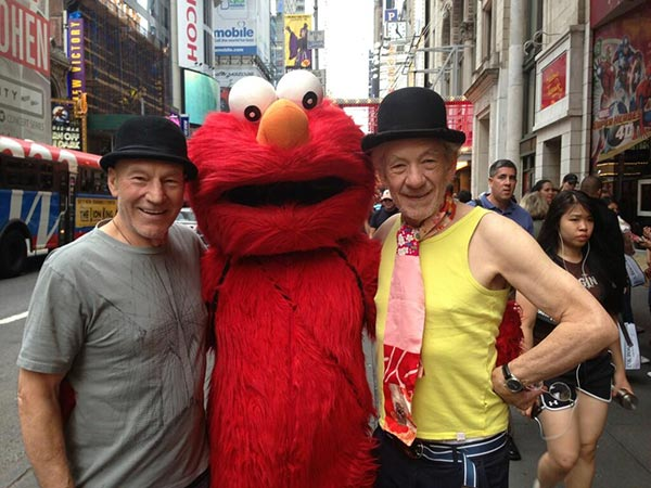 Patrick Stewart shared this Twitter photo of himself and friend and &#39;X-Men&#39; co-star Ian McKellen on Sept. 13, 2013 in New York City, saying: &#39;Elmo! #gogodididonyc @TwoPlaysInRep&#39; -- referring to the Broadway plays &#39;Harold Pinter&#39;s No Man&#39;s Land&#39; and Samuel Beckett&#39;s &#39;Waiting for Godot&#39; that feature the two actors. <span class=meta>(pic.twitter.com&#47;1NUvjFpyet &#47; twitter.com&#47;SirPatStew&#47;status&#47;378569295417987074&#47;photo&#47;1)</span>