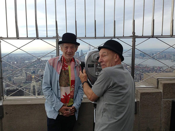 Patrick Stewart shared this Twitter photo of himself and friend and &#39;X-Men&#39; co-star Ian McKellen on Sept. 17, 2013 on what appears to be a lookout point on top of the Empire State Building in New York City, saying: &#39;Empire State! #gogodididonyc @TwoPlaysInRep&#39; -- referring to the Broadway plays &#39;Harold Pinter&#39;s No Man&#39;s Land&#39; and Samuel Beckett&#39;s &#39;Waiting for Godot&#39; that feature the two actors. <span class=meta>(pic.twitter.com&#47;edSSvBfw3K &#47; twitter.com&#47;SirPatStew&#47;status&#47;380007020633403392&#47;photo&#47;1)</span>