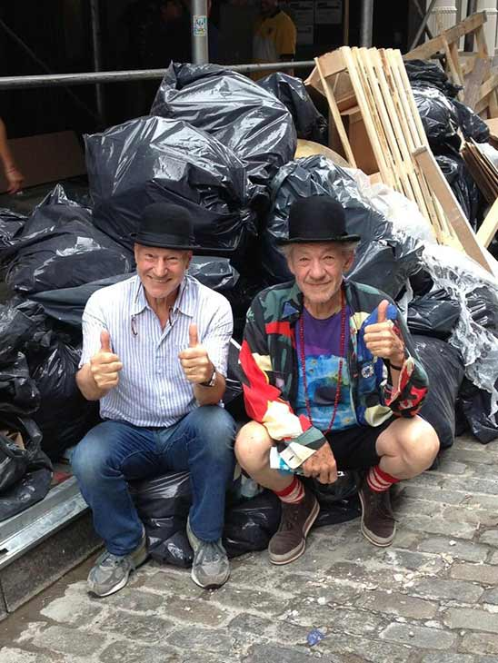 Patrick Stewart shared this Twitter photo of himself and friend and &#39;X-Men&#39; co-star Ian McKellen on Sept. 19, 2013, saying: &#39;Rubbish! #gogodididonyc @TwoPlaysInRep&#39; -- referring to the Broadway plays &#39;Harold Pinter&#39;s No Man&#39;s Land&#39; and Samuel Beckett&#39;s &#39;Waiting for Godot&#39; that feature the two actors. <span class=meta>(pic.twitter.com&#47;KWKY1PhHRB &#47; twitter.com&#47;SirPatStew&#47;status&#47;380722620099858432&#47;photo&#47;1)</span>
