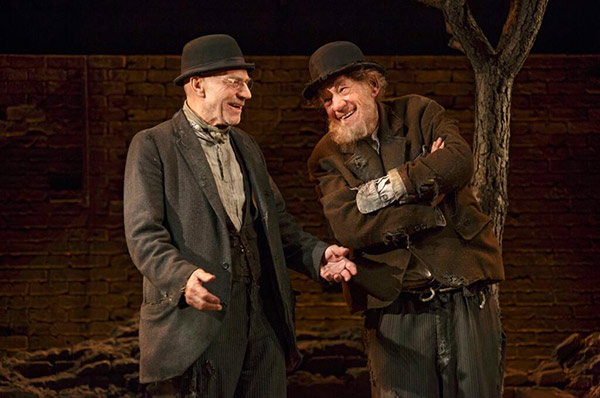 Patrick Stewart and 'X-Men' co-star Ian McKellen appear on stage in character in the Broadway play 'Waiting for Godot,' which takes place at the Cort Theatre in New York, as seen in this photo posted on Stewart's Twitter page on Nov. 7, 2013.