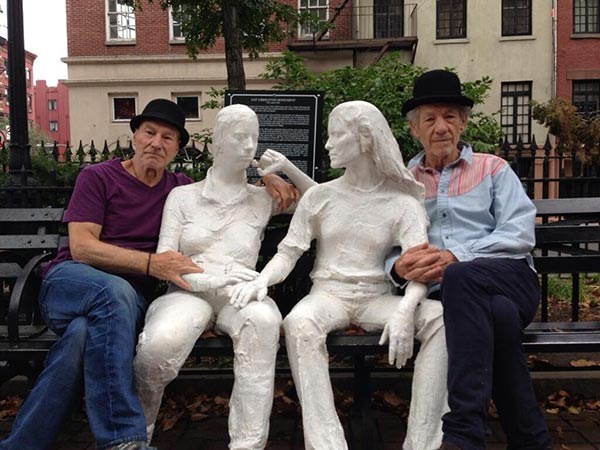 Patrick Stewart shared this Twitter photo of himself and friend and &#39;X-Men&#39; co-star Ian McKellen on Oct. 23, 2013, saying: &#39;Stonewall! #gogodididonyc @TwoPlaysInRep&#39; -- referring to the Broadway plays &#39;Harold Pinter&#39;s No Man&#39;s Land&#39; and Samuel Beckett&#39;s &#39;Waiting for Godot&#39; that feature the two actors. <span class=meta>(pic.twitter.com&#47;1Unv3OuUIB &#47; twitter.com&#47;SirPatStew&#47;status&#47;393070455495876608&#47;photo&#47;1)</span>