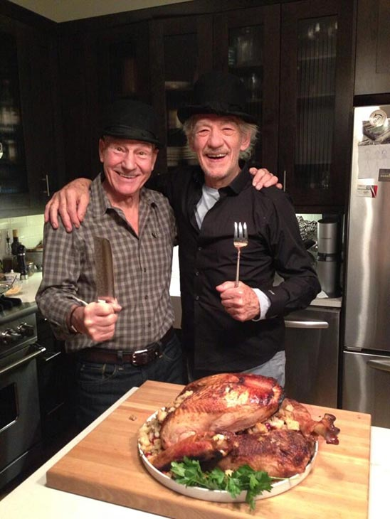 Patrick Stewart shared this Twitter photo of himself and friend and &#39;X-Men&#39; co-star Ian McKellen on Nov. 28, 2013, saying: &#39;Thanksgiving! #gogodididonyc @TwoPlaysInRep&#39; -- referring to the Broadway plays &#39;Harold Pinter&#39;s No Man&#39;s Land&#39; and Samuel Beckett&#39;s &#39;Waiting for Godot&#39; that feature the two actors. <span class=meta>(pic.twitter.com&#47;50TT14FAGZ &#47; twitter.com&#47;SirPatStew&#47;status&#47;406191641297698816&#47;photo&#47;1)</span>