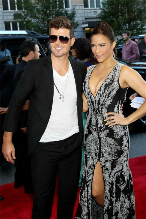 Paula Patton and husband Robin Thicke attend the premiere of the film &#39;2 Guns&#39; at the SVA Theatre in New York on July 29, 2013. <span class=meta>(Marion Curtis &#47;  Startraksphoto.com)</span>