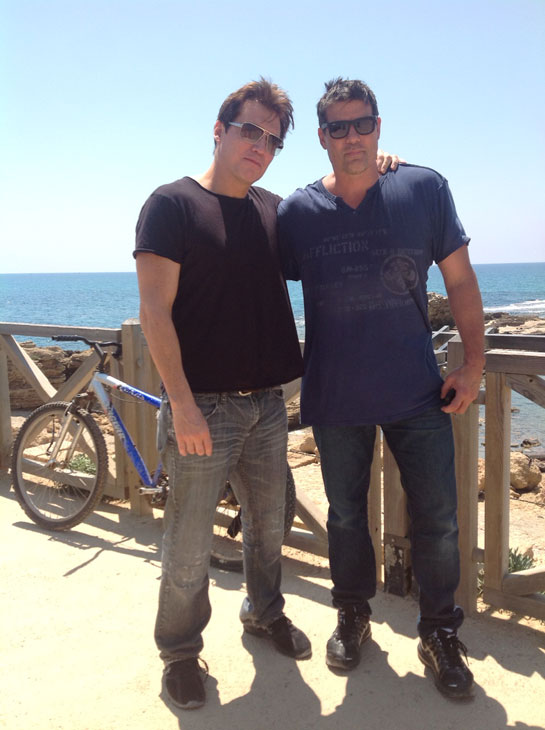 Holt McCallany of 'CSI Miami' and Paul Johansson of 'One Tree Hill' pose near the coast of the northern Israeli city of Haifa on May 7, 2012, when they began a trip to Israel.