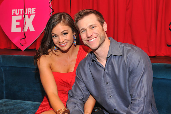 Jake Pavelka, former star of the ABC show 'The Bachelor,' and his girlfriend Ashley Ann Vickers appear at SVEDKA Vodka's Anti-Valentine's Day Bash at AGENCY Boutique Nightclub in Los Angeles on Jan. 31, 2012.