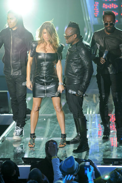 The Black Eyed Peas perform at the MTV World Stage in New York City on April 18, 2011 to celebrate the arrival of the 21st Century Beetle.
