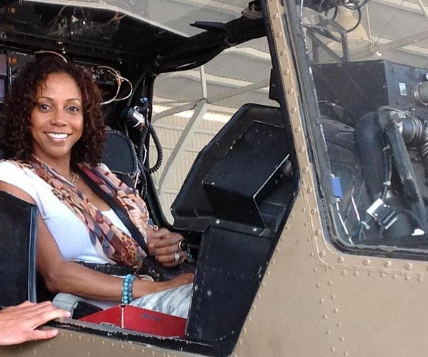 Holly Robinson Peete sits nside an Israeli military aircraft on May 7, 2012, when they began a trip to Israel.