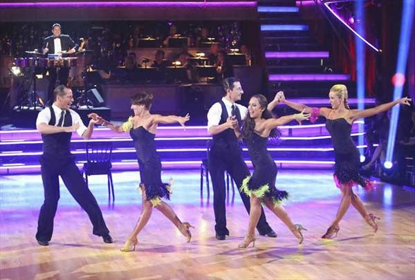 Professional dancer Cheryl Burke, along with four outside dancers, danced to a live performance from Tito Puente Jr., who showcased a medley of his classics on &#39;Dancing With The Stars: The Results Show&#39; on October 16, 2012. <span class=meta>(ABC Photo)</span>