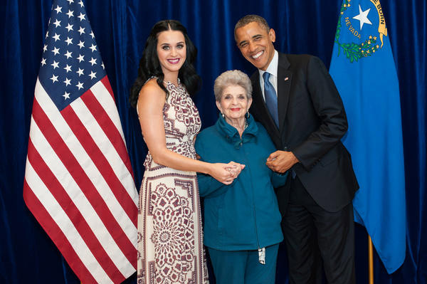 Katy Perry has long supported President Barack Obama and his current bid for re-election and has performed at several of his campaign events.  On November 5, the day before the 2012 ballot, the pop singer shared with her some 28.6 million Twitter followers a photo of herself posing with her grandmother and Obama.  &#39;May I exclusively present what might be the cutest photo ever taken: Me, Gma &#38; POTUS! Happy voting tomorrow!&#39; Perry wrote. <span class=meta>(twitter.com&#47;katyperry&#47;status&#47;265695028834361344&#47;photo&#47;1)</span>