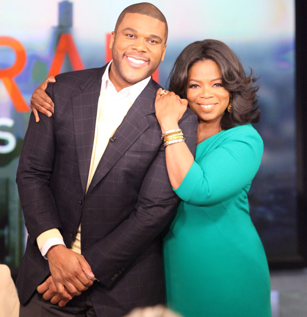 Tyler Perry and Oprah Winfrey appear in a publicity photo provided by OWN on Oct. 1, 2012. - Provided courtesy of OWN