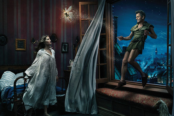 Tina Fey plays Tinker Bell, Gisele Bundchen plays Wendy and Mikhail Baryshnikov &#40;ballet star, &#39;Sex and the City&#39; guest actor&#41; plays Peter Pan in Annie Leibowitz&#39;s Disney Dream Dream Portraits series. <span class=meta>(Disney Enterprises Inc. &#47; Annie Leibowitz)</span>