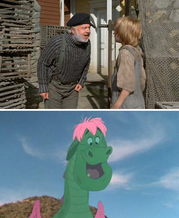 &#39;Pete&#39;s Dragon&#39; &#40;1977&#41; - This Disney half-animated movie depicts the friendship of an orphan boy named Pete, played by Sean Marshall, and a cartoon dragon named Elliot, portrayed by Charlie Callas, who is able to make himself invisible. Mickey Rooney plays Lampie, an old lighthouse keeper and father of Nora, who later adopts Pete. <span class=meta>(Walt Disney Productions)</span>