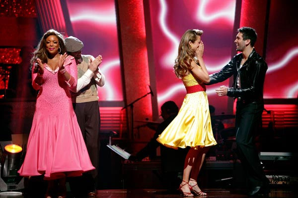 Petra Nemcova and her partner Dmitry Chaplin react to being safe from elimination. The couple received 18 out of 30 from the judges for their Jive on week 2 of 'Dancing With The Stars' on Monday, March 28, 2011. Combined with the first week scores of 18 o