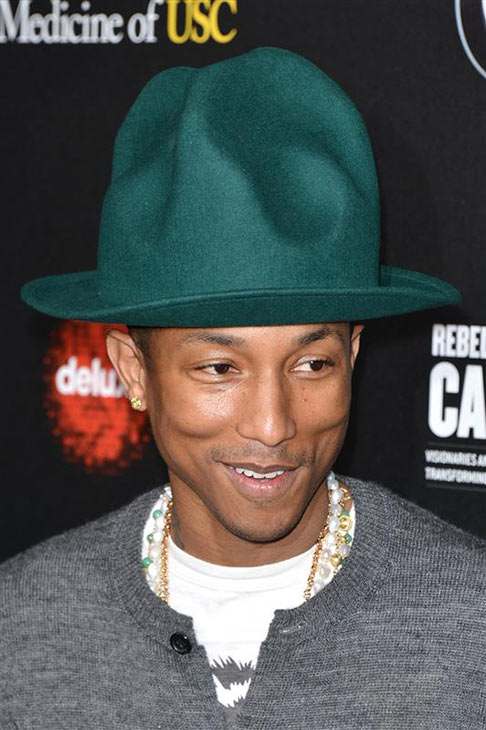 "<div class=""meta ""><span class=""caption-text "">Pharrell Williams wears a Vivienne Westwood Jelly Mould hat at the 2014 Rebels With A Cause Gala at Paramount Pictures Studios in Hollywood, California on March 20, 2014. (Tony DiMaio / Startraksphoto.com)</span></div>"