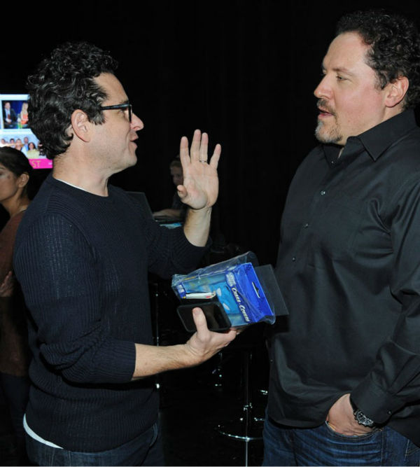 J.J. Abrams chats with Jon Favreau at the Paley Center for Media&#39;s PaleyFest event for the NBC series &#39;Revolution,&#39; courtesy of Samsung Galaxy, at the Saban Theatre in Los Angeles on March 2, 2013. <span class=meta>(Kevin Parry for Paley Center for Media)</span>