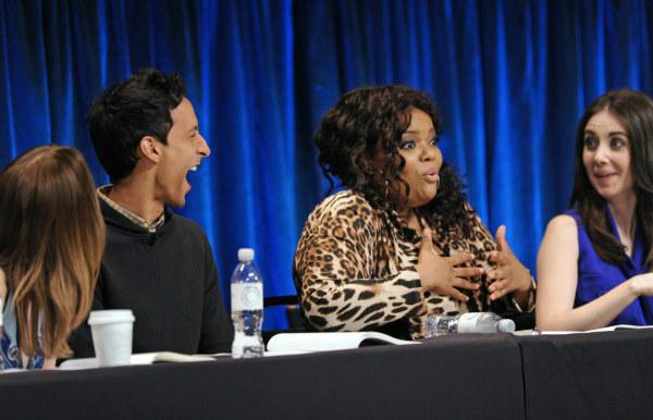 Danny Pudi laughs at a joke by co-star Yvette Nicole Brown at the Paley Center for Media&#39;s PaleyFest event honoring &#39;Community,&#39; courtesy of Samsung Galaxy, at the Saban Theatre, in Los Angeles on Tuesday March 5, 2013. <span class=meta>(Photo&#47;Kevin Parry for Paley Center for Media)</span>