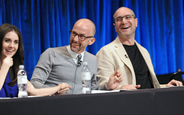 "<div class=""meta ""><span class=""caption-text "">Jim Rash and Andy Bobrow speak during a panel discussion at the Paley Center for Media's PaleyFest event honoring 'Community,' courtesy of Samsung Galaxy, at the Saban Theatre, in Los Angeles on Tuesday March 5, 2013. (Photo/Kevin Parry for Paley Center for Media)</span></div>"