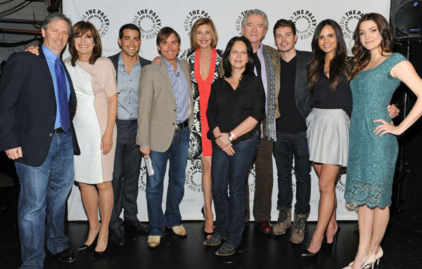 William Keck poses with cast and producers at the Paley Center for Media&#39;s PaleyFest event honoring &#39;Dallas,&#39; courtesy of Samsung Galaxy, at the Saban Theatre in Los Angeles on March 10, 2013. <span class=meta>(Photo&#47;Kevin Parry for Paley Center for Media)</span>