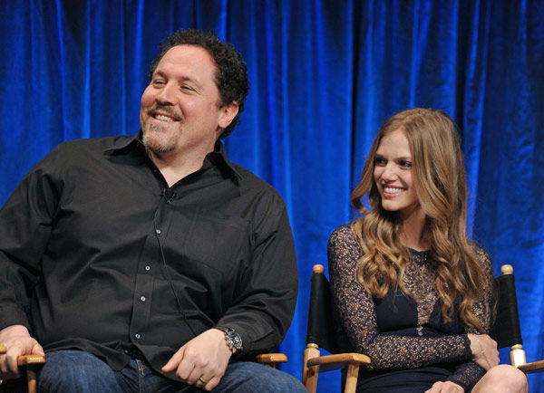 Co-Executive Producer Jon Favreau and actress Tracy Spiridakos share a laugh at the Paley Center for Media&#39;s PaleyFest event for the NBC series &#39;Revolution,&#39; courtesy of Samsung Galaxy, on March 2, 2013. <span class=meta>(Kevin Parry for Paley Center for Media)</span>
