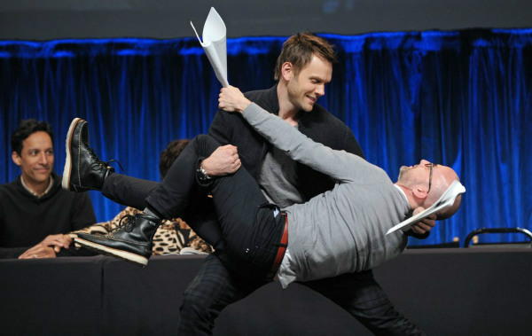 "<div class=""meta ""><span class=""caption-text "">Joel McHale and Jim Rash act a scene at the Paley Center for Media's PaleyFest, honoring 'Community,' at the Saban Theatre, Tuesday March 5, 2013 in Los Angeles. (Photo/Kevin Parry for Paley Center for Media)</span></div>"