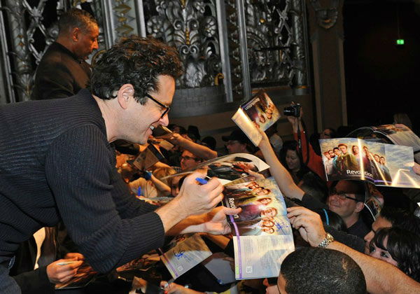 J.J. Abrams, Executive Producer of &#39;Revolution,&#39; signs autographs at the Paley Center for Media&#39;s PaleyFest event honoring the NBC series, courtesy of Samsung Galaxy, at the Saban Theatre in Los Angeles on March 2, 2013. <span class=meta>(Kevin Parry for Paley Center for Media)</span>