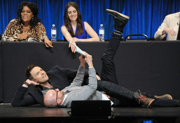 "<div class=""meta image-caption""><div class=""origin-logo origin-image ""><span></span></div><span class=""caption-text"">Jim Rash and Joel McHale share a moment at the Paley Center for Media's PaleyFest event honoring 'Community,' courtesy of Samsung Galaxy, at the Saban Theatre, in Los Angeles on Tuesday March 5, 2013. (Photo/Kevin Parry for Paley Center for Media)</span></div>"
