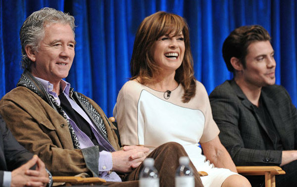 "<div class=""meta ""><span class=""caption-text "">Patrick Duffy (L), Linda Gray (C) and Josh Henderson (R) onstage at the Paley Center for Media's PaleyFest event honoring 'Dallas,' courtesy of Samsung Galaxy, at the Saban Theatre in Los Angeles on March 10, 2013. (Photo/Kevin Parry for Paley Center for Media)</span></div>"