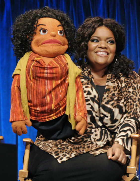 Yvette Nicole Brown shows off her puppet onstage at Paley Center for Media&#39;s PaleyFest event honoring &#39;Community,&#39; courtesy of Samsung Galaxy, at the Saban Theatre, in Los Angeles on Tuesday March 5, 2013. <span class=meta>(Photo&#47;Kevin Parry for Paley Center for Media)</span>