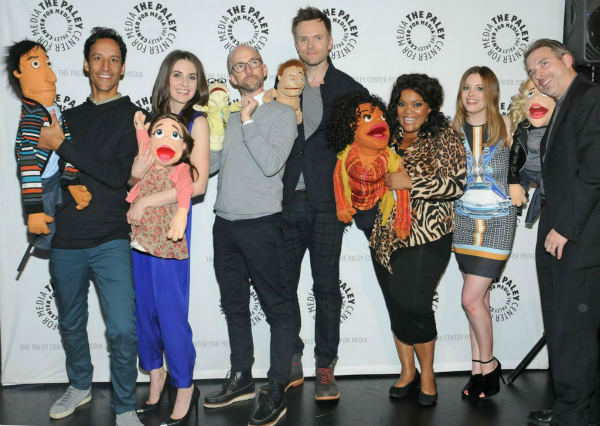"<div class=""meta image-caption""><div class=""origin-logo origin-image ""><span></span></div><span class=""caption-text"">The cast poses with their puppets at the Paley Center for Media's PaleyFest event honoring 'Community,' courtesy of Samsung Galaxy, at the Saban Theatre, in Los Angeles on Tuesday March 5, 2013. (Photo/Kevin Parry for Paley Center for Media)</span></div>"