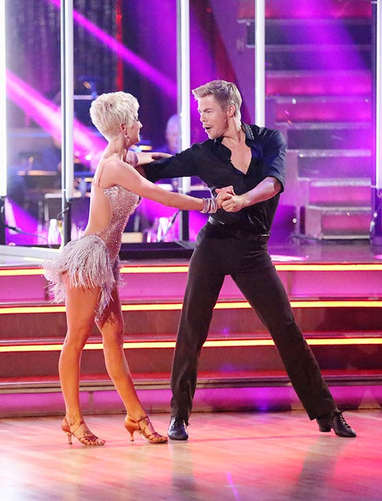 Singer and former 'American Idol' contestant Kellie Pickler and her partner Derek Hough dance on the season 16 premiere of 'Dancing With The Stars' on March 18, 2013.
