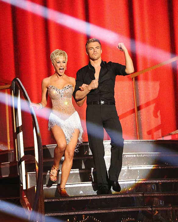 Singer and former 'American Idol' contestant Kellie Pickler and her partner Derek Hough prepare to dance on the season 16 premiere of 'Dancing With The Stars,' which aired on March 18, 2013.