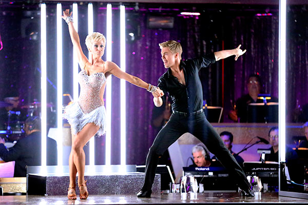 "<div class=""meta ""><span class=""caption-text "">Singer and former 'American Idol' contestant Kellie Pickler and her partner Derek Hough prepare to dance on the season 16 premiere of 'Dancing With The Stars,' which aired on March 18, 2013. They received 21 out of 30 points from the judges for their Cha Cha Cha routine. (ABC Photo / Adam Taylor)</span></div>"