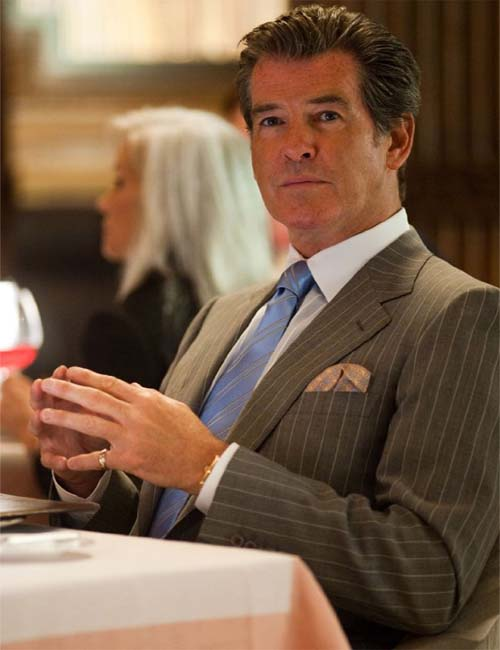 Pierce Brosnan turns 59 on May 16, 2012. The actor is most known for his portrayal of James Bond in &#39;GoldenEye&#39; &#40;1995&#41;, &#39;Tomorrow Never Dies&#39; &#40;1997&#41;, &#39;The World is Not Enough&#39; &#40;1999&#41; and &#39;Die Another Day&#39; &#40;2002&#41;. He is also known for films such as &#39;Laws of Attraction,&#39; &#39;Mamma Mia!,&#39; and &#39;Percy Jackson and the Olympians: the Lightning Thief.&#39;  <span class=meta>(Summit Entertainment - Myles Aronowitz)</span>