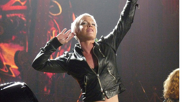 Pink appears in a photo performing from her 2009 Funhouse tour in Bremen.