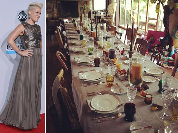 "<div class=""meta ""><span class=""caption-text "">Pink Tweeted this Instagram photo of a dinner table on Nov. 22, 2012, saying: 'That's what I did yesterday:) with a little help from my friends:) happy gratitude day.' Pictured left: Pink appears on the red carpet at the 2012 American Music Awards (AMAs) in L.A. on Nov. 18, 2012.  (ABC / Richard Harbaugh / twitter.com/Pink / http://instagram.com/p/SVu_MzvWF7/)</span></div>"