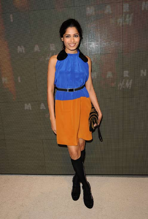 "<div class=""meta ""><span class=""caption-text "">Freida Pinto appears at the launch party for H and M's Marni collection in Los Angeles on Feb. 17, 2012. She is wearing an outfit from the fashion line. (H and M / Marni)</span></div>"