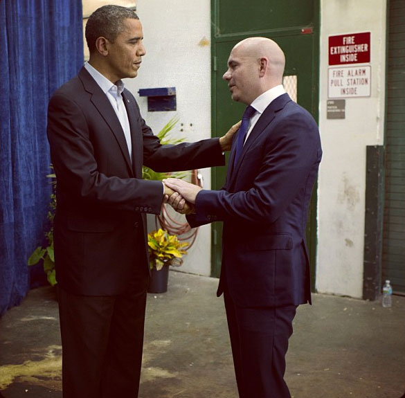 On Nov. 6, 2012, after President Barack Obama was re-elected, rapper Pitbull Tweeted this undated photo of himself with the U.S. leader and said: &#39;Congrats Mr. President...daleeeeeee!!! #election2012 #dontstoptheparty #latinos.&#39; <span class=meta>(twitter.com&#47;Pitbull&#47;status&#47;266047330493558784)</span>