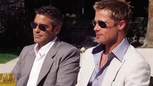 Clooney and Pitt appear in a scene from the 2007 film 'Ocean's Thirteen.'