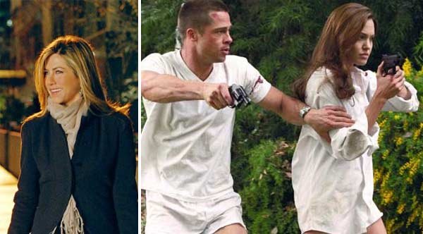 Jennifer Aniston appears in a scene from the 2010 film 'The Switch.' / Angelina Jolie and Brad Pitt appear in a scene from the 2005 movie 'Mr. and Mrs. Smith.'